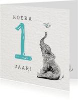 Verjaardag Illustratie met Olifant - Hoera 1 jaar Jongen