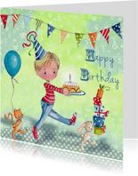 Verjaardag Jongen Taart Ballon