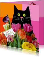 Verjaardag - kat met kleurige tulpen