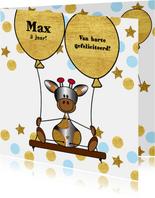 Verjaardag lief girafje op schommel met ballon