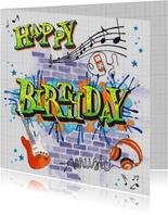 Verjaardag Man Muziek Graffiti