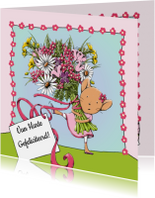 Verjaardag muis en bloemen - IH