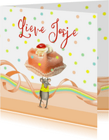 Verjaardag - muis met gebakje