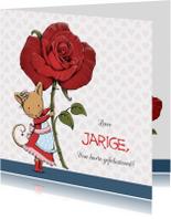 Verjaardag muis met roos - IH