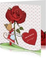 Verjaardag muis, roos, hart - IH