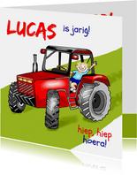 Verjaardag op de tractor hoera
