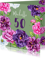 Verjaardag pioenrozen botanical