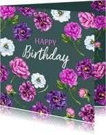 Verjaardag pioenrozen purple