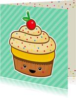 Verjaardag retro cupcake mint