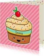 Verjaardag retro cupcake roze