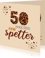Verjaardagskaarten - Verjaardag spetters met luipaardprint