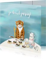 Verjaardag - Tijger met koffie en moorkoppen