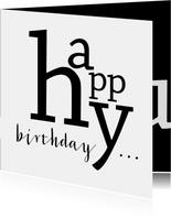 Verjaardag typografisch happy