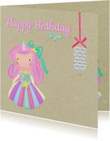 Verjaardagskaarten - Verjaardag Unicorn Prinses