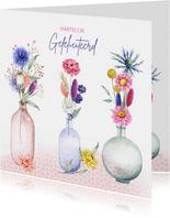 Verjaardag vaasjes droogbloemen