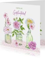 Verjaardag vaasjes rozen
