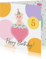 Verjaardag Varkentje aardbei