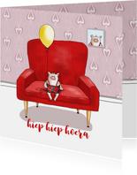 Verjaardag - varkentje in rode stoel