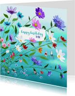 Verjaardag - Veel bloemen en twee muisjes