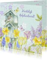 Verjaardag vogelhuis bloemen