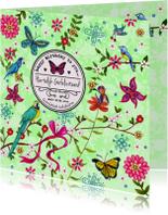 Verjaardag Vogels Bloem Vlinder