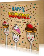 Verjaardag vorkjes met taart