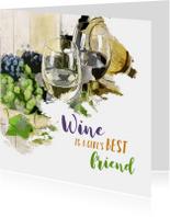 Verjaardagskaarten - Verjaardag wine is a girl's best friend