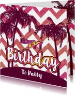 Verjaardag zomerse  felicitatie glitter glamour en palmbomen