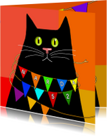 Verjaardag - zwarte kat met slinger