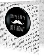 Verjaardagkaart ballon snorretje