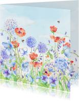 Verjaardagkaart bloemenaquarel