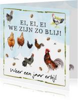 Verjaardagkaart ei ei ei  met kippen en hanen