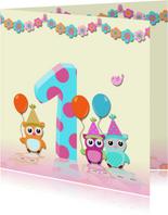 Verjaardagkaart guirlande meisje