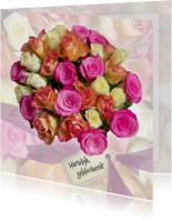 Verjaardagkaart rozen en lint