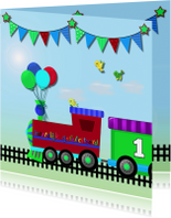 Verjaardagkaart stoere trein