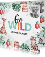 Verjaardagkaartje dieren jungle olifant giraf tijger