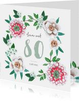 Verjaardagsfeest botanisch bloemen groen, rood en wit