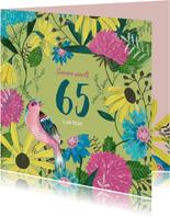 Verjaardagsfeestje 65 jaar bloemen en vogel