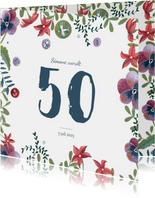 Verjaardagsfeestje uitnodiging bloemen rand