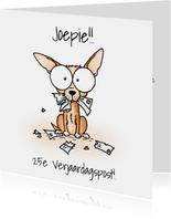 Verjaardagsfelicitatie - Chihuahua met verscheurde brieven