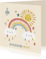 Verjaardagskaart 1 jaar met regenboog, zonnetje en wolkjes