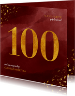 Verjaardagskaart 100 jaar gouden spetters op waterverf