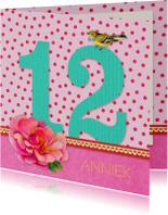 Verjaardagskaart 12 roze