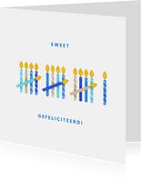 Verjaardagskaart 16 kaarsjes blauw
