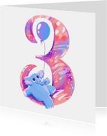 Verjaardagskaart 3 jaar olifant