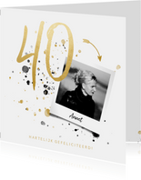 Verjaardagskaart '40' met foto en spetters