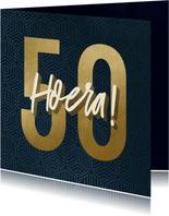 Verjaardagskaart 50 geometrisch hoera