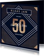 Verjaardagskaart 50 jaar goud stijlvol man blauw