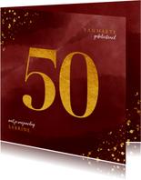 Verjaardagskaart 50 jaar gouden spetters op waterverf