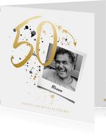 Verjaardagskaart '50' met foto en spetters